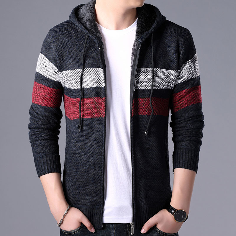 Men Sweater Hooded Fleece Jacket Autumn Winter Casual Patchwork Cashmere Sweatercoat Thick Warm Knitted Cardigan Zipper Coats