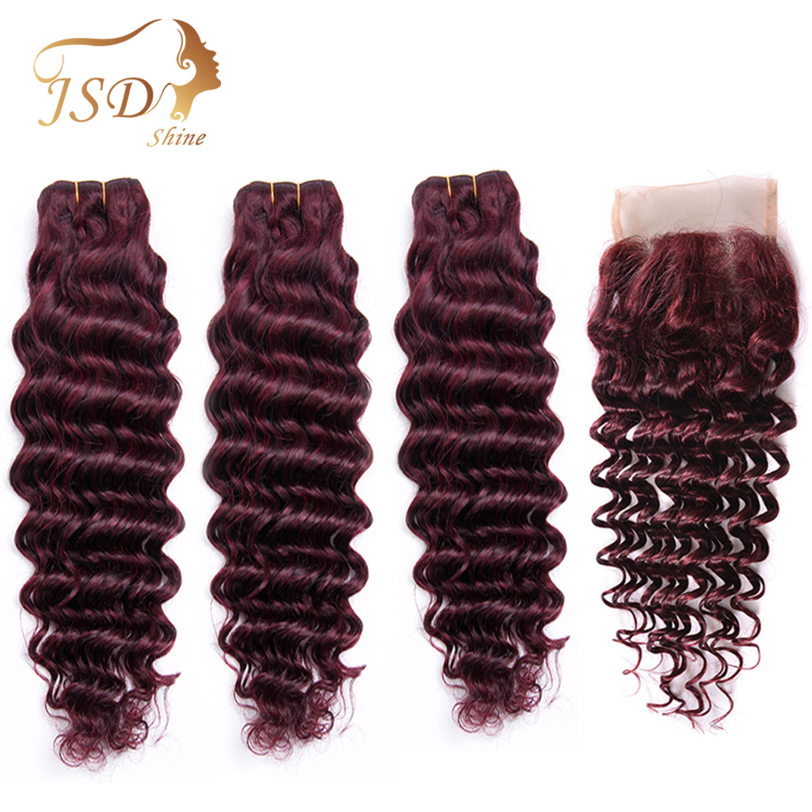 Human Hair Bundles With Closure JSDShine Burgundy Brazilian Deep Wave Hair Bundles With Closure 99J Non Remy Hair Extensions