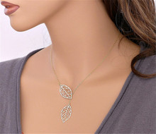 Simple metal leaves tassel ladies necklace double wild short clavicle chain