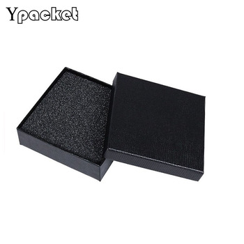 25pcs/Lot Jewellery Organizer Square Black Jewellery Box Necklace Pendant Cases Paper Packaging Boxes 12x12x3.5cm
