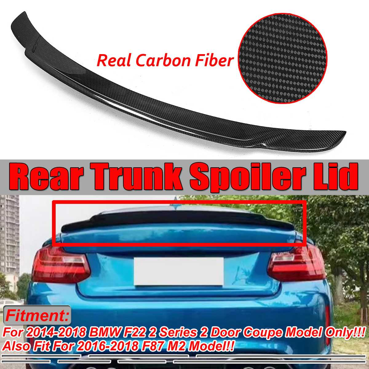 For 14-16 BMW 2 Series F22 F87 M2 228i M4 Style Carbon Fiber Rear Spoiler Wing