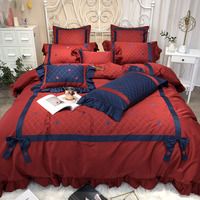 ANNAs Good Stuff Wine Red Quilt Cover 4pcs Bedding Set Egyptian cotton Wedding Article Princess Style Pillow Case Wedding Gifts