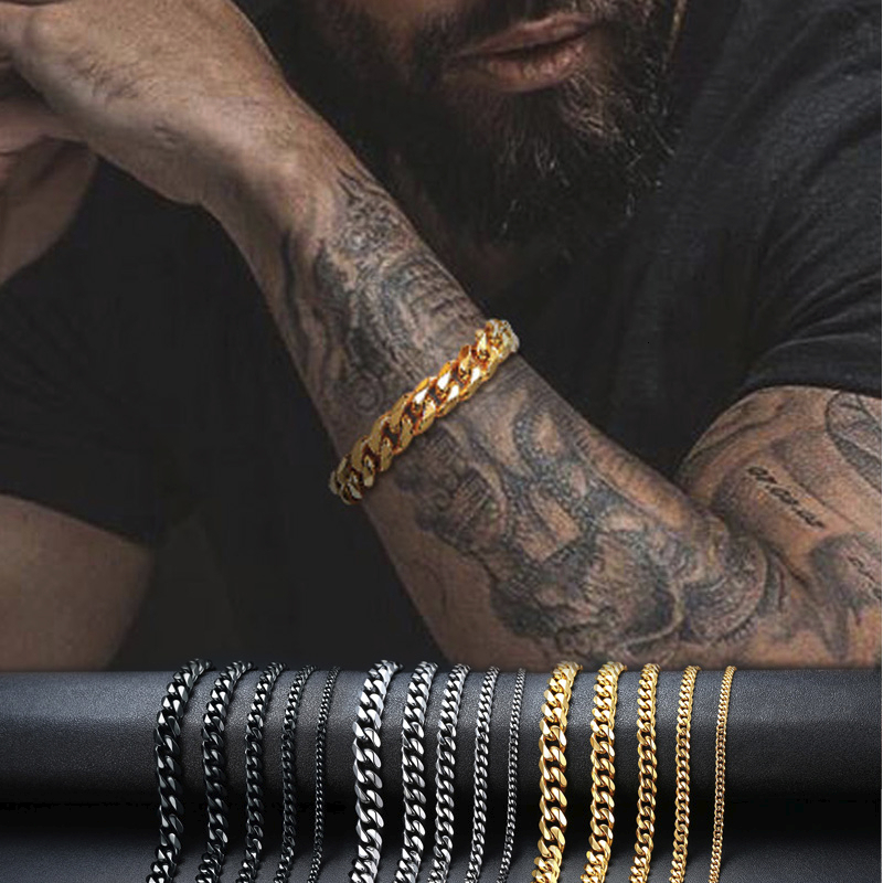3 TO 11MM MENS MIAMI CUBAN LINK BRACELET IN STAINLESS STEEL ASSORTED COLORS 7 TO 9 INCHES
