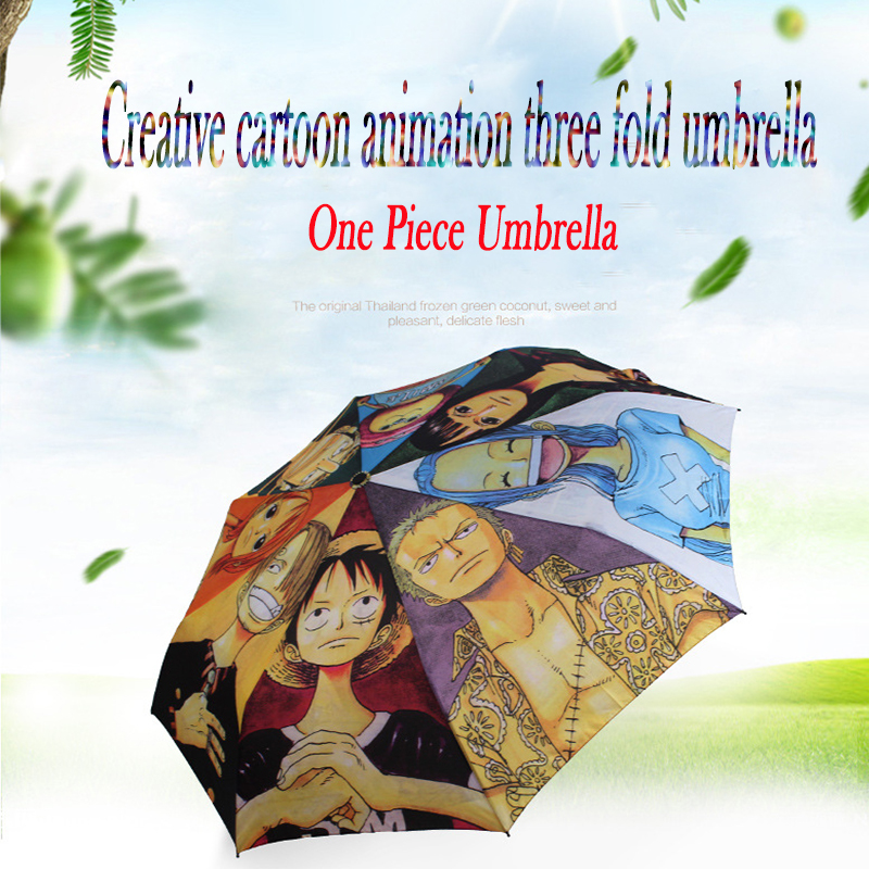 Fashion anime Sea Pirates Theme Umbrella Men And Women Windproof Sunscreen Portable Folding Anime