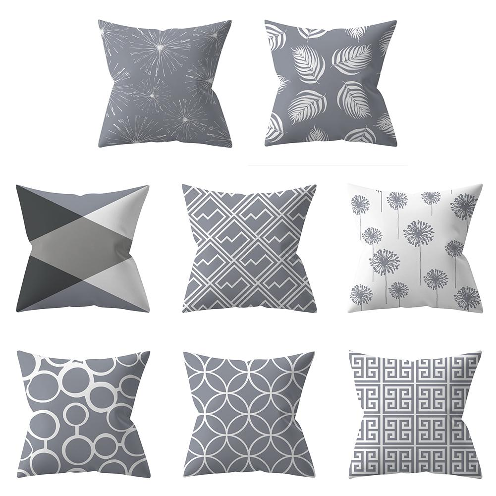 Home Decorative Pillowcase Gray Geometric Pillowcase Soft Solid Square Pillow Cover Bed Pillow Case 18 X 18 Inches