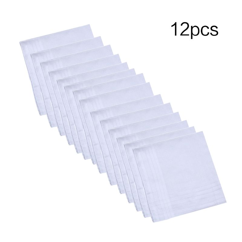 Square-Towel Handkerchiefs Hankies Cotton Pure-White Pocket Jacquard Women Classic 12pcs/Set