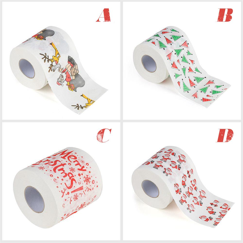 hot Christmas Pattern Roll Paper Print Interesting Toilet Paper Table Kitchen Paper Christmas party hygiene roll paper towel 40p