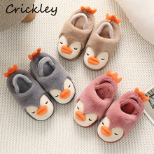 Kids Cartoon Cute Penguin 3D Shape Winter Home Shoes for Little Girls Flat Heels Keep Warm Non Slip Fur Indoor Slippers