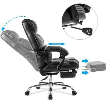 Black Office Chair Home Furniture Boss Computer Massager Chair Support Cushion With Footrest Unique Deisgn Gaming Chair