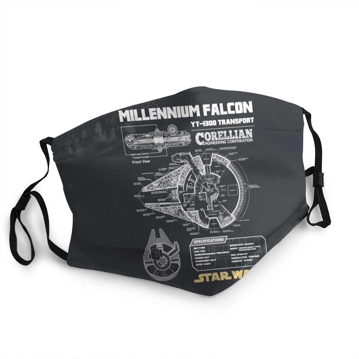 Star Wars Millennium Falcon Schematics Unisex Face Mask Anti-Bacterial Dustproof Mask Protection Cover Respirator Mouth Muffle
