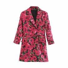 Heydress Women Autumn Long Sleeve Blazer Jackets Vintage Print Floral Female Sashes Long Blazer Casual Street Wear Lady Outwears