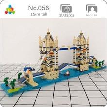 YZ 056 – Mini blocs de diamant en briques, jouet de construction pour enfants, Architecture de renommée mondiale, le pont de la tour de londres, modèle 3D, sans boîte