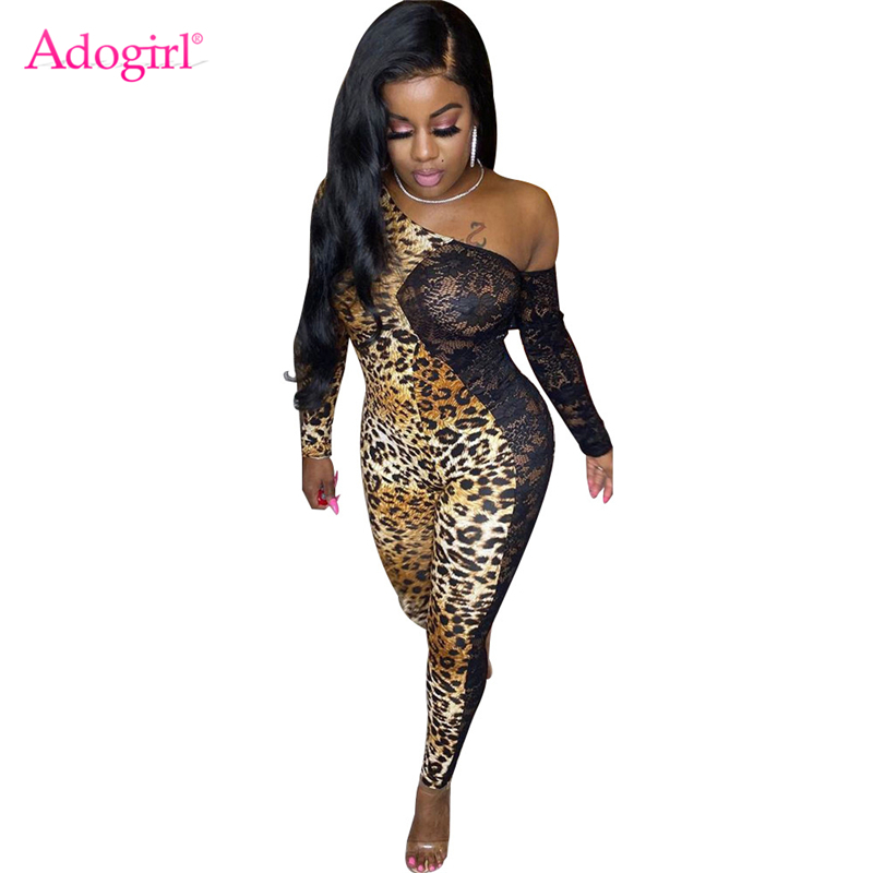 Adogirl Leopard Print Sheer Lace Patchwork Sexy Jumpsuit Off Shoulder Long Sleeve Skinny Romper Women Night Club Overalls