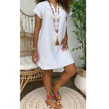 Feminino manga curta vestido casual solto v pescoço algodão linho mini vestido 2021 verão praia sundress senhoras streetwear plus size 5xl