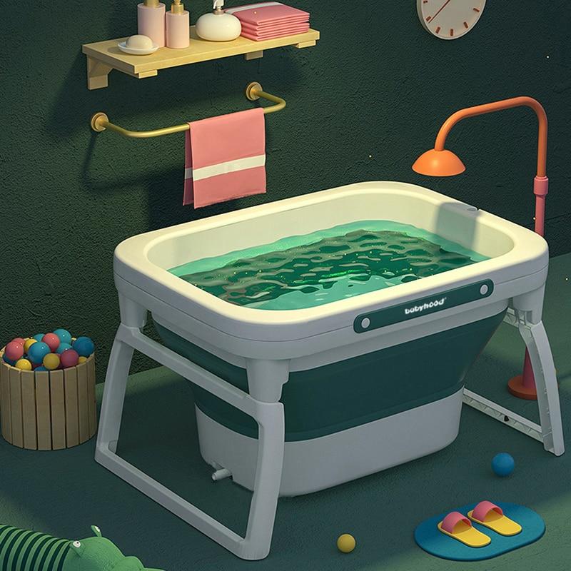 Newborn Baby Folding Bath Tub Body Washing Baby Swimming Bucket Baby Bath Tub Folding Bathtub Children Bath Barrel for 0-15+