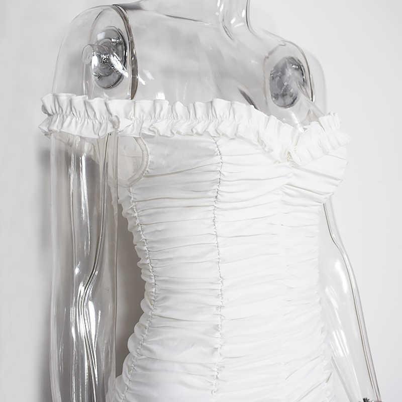 Женское платье с оборками NewAsia Garden, привлекательное платье с открытыми плечами, белое праздничное платье на день рождения, элегантное стильное платье с оборками, лето 2019