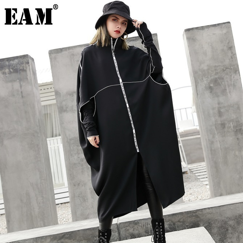 [EAM] Women Black Batwing Sleeve Letter Print Big Size Dress New Stand Collar Loose Fit Fashion Tide Spring Autumn 2020 JE733