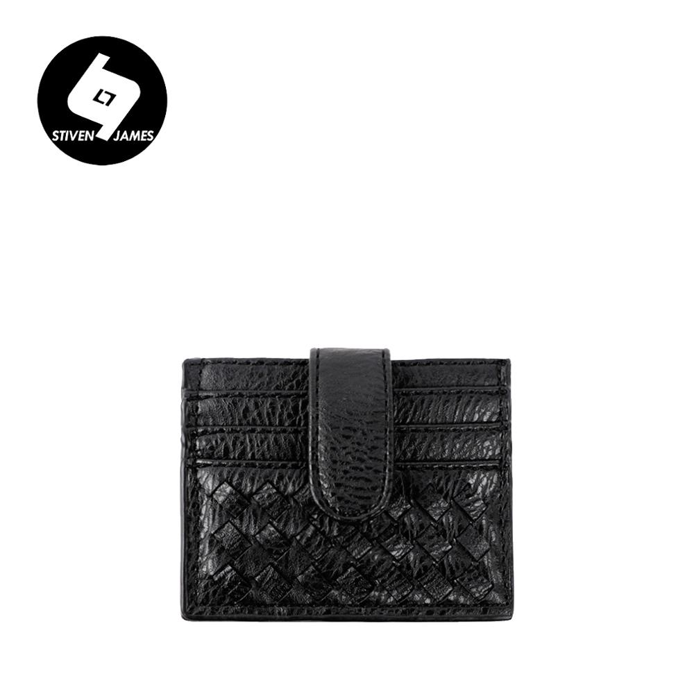 STIVEN JAMES Credit Card Case Leather Weave Card Holders Hand Woven ID Card Holder Hand Knit Coin Wallet Women Hasp Change Purse