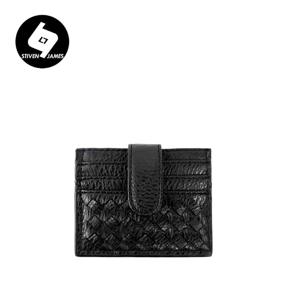 Hot Womens Mens Leather ID Credit Card Holder Women Coins Purse Woven Wallet