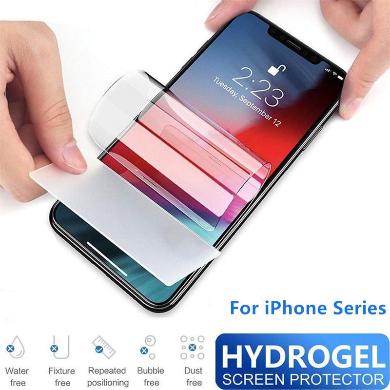 Protetor de tela de vidro temperado para iphone 11 pro max xs xr x 6 s 7 8 + protetor de tela de proteção de filme de hidrogel vidrio templado