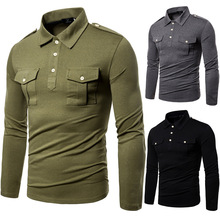 High-quality military style European 19 new autumn and American lapel long sleeve T-shirt mens tide large size