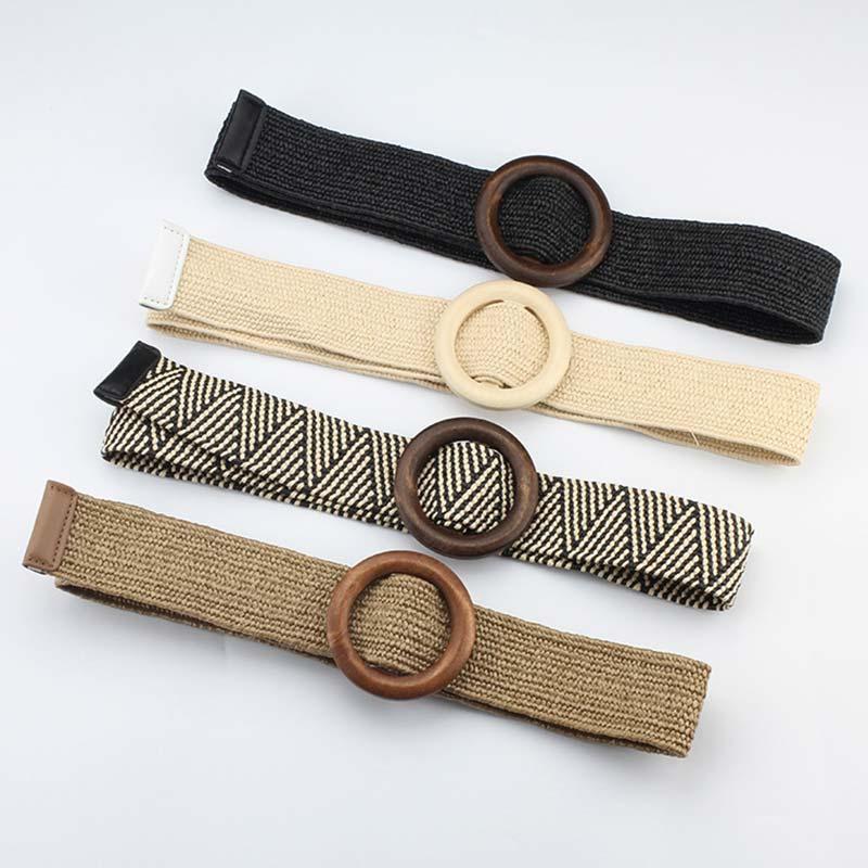 Decoration For Dress Straw Belt Graceful Belts Casual Female Belt Accessories Elastic Wooden Button 4 Colors Adjustable 1PC