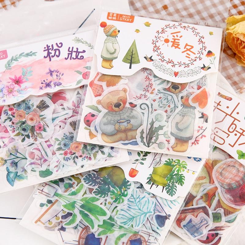 40Pcs/bag 24 Designs D Diary Stickers Scrapbooking Warm Series Japanese Creative StationeryAnimal pl