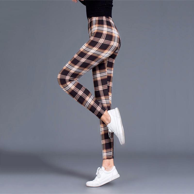 Plaid Leggings Women Sexy Pants Push Up Leggings Fashion Fitness Leggins Gym Sporting Plus Size High Waist Trousers