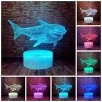 Tiburón intermitente modelo 3D LED dormir luz nocturna colorida luz cambiante delfín mar Animal figura Juguetes