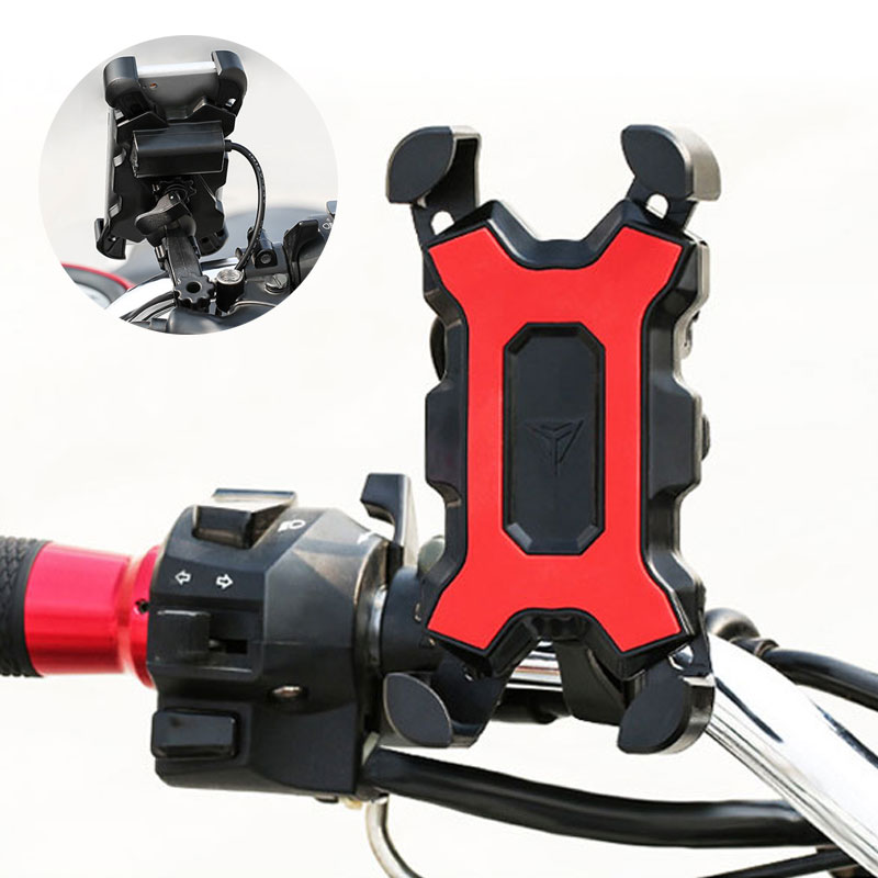 Bicycle Mobile Phone Holder Handlebar Mirror Mount Stand USB Charger Motorcycle Cellphone Clip Bracket For Iphone Samsung