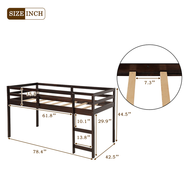 Twin Loft Bed with Cabinet and Desk 5