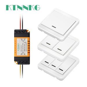 Image 1 - Interruptor de luz sem fio padrão, sem fiação, controle remoto, temporizador, receptor para lâmpadas, aparelhos de teto, 433mhz