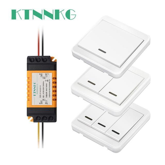 Interruptor de luz sem fio padrão, sem fiação, controle remoto, temporizador, receptor para lâmpadas, aparelhos de teto, 433mhz