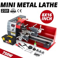 750 Вт мини-токарный станок 8x16 дюймов для обработки металла с переменной скоростью