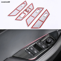 Door Window Lift Switch Button Cover Trim Panel Car Carbon Fiber Trim Sticker For Skoda Kodiaq 2017 2018 2019 Car Accessories