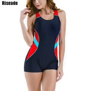 Image 1 - Riseado bañador deportivo de una pieza para mujer, traje de baño de retazos para mujer, traje de baño competitivo con espalda de corredor, ropa de baño para chico 2020