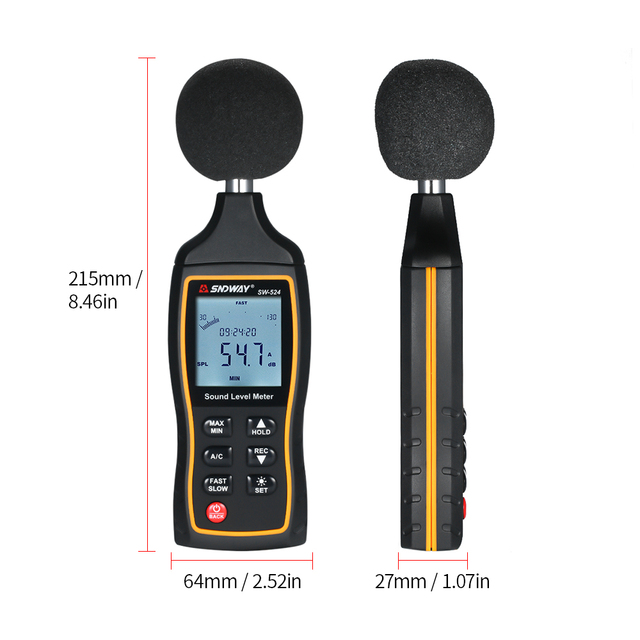 SNDWAY 30-130dB LCD cyfrowy miernik poziomu dźwięku cyfrowy miernik hałasu hałasu przyrząd do pomiaru decybeli przyrząd pomiarowy do obserwacji tanie i dobre opinie 30 ~ 130dB Sound Level Meter
