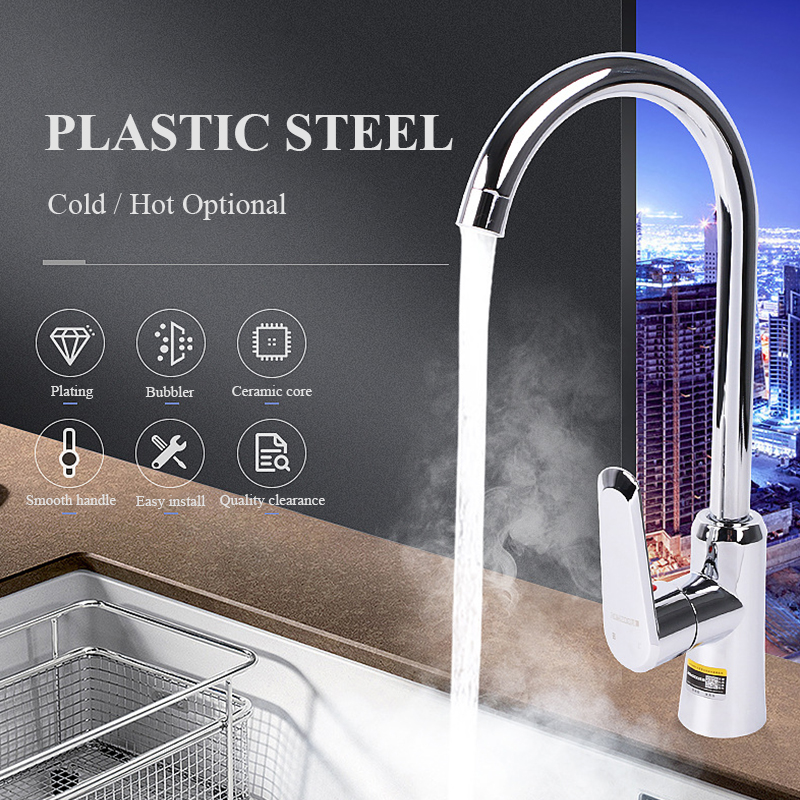 Hot/Cold Kitchen Faucets Stainless Steel Kitchen Mixer Single Handle Single Hole Kitchen Faucet Mixer Sink Tap Kitchen Faucet