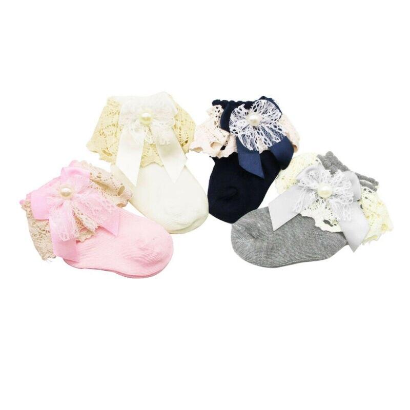 1Pair Cute Baby Girl Boys Bowknot Lace Socks Girls Bbay Knitted Cotton Stretch Tiny Socks Newborn Spanish Ankle High Socks