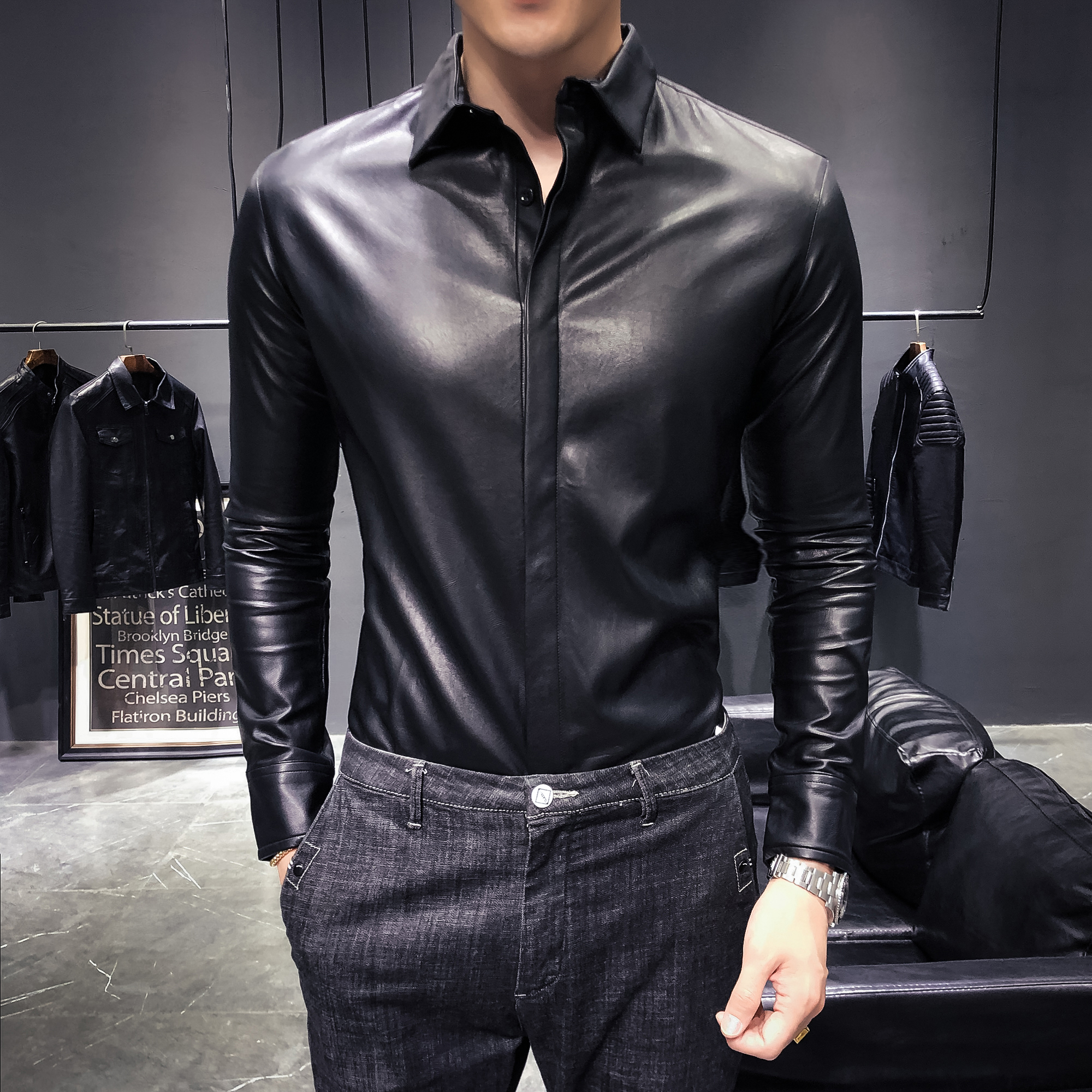 Leather Shirts Mens Black Shirts Slim Fit Night Social Club Outfits Sexy Leather Mens Korean Fashion Clothes Mens Western Shirts