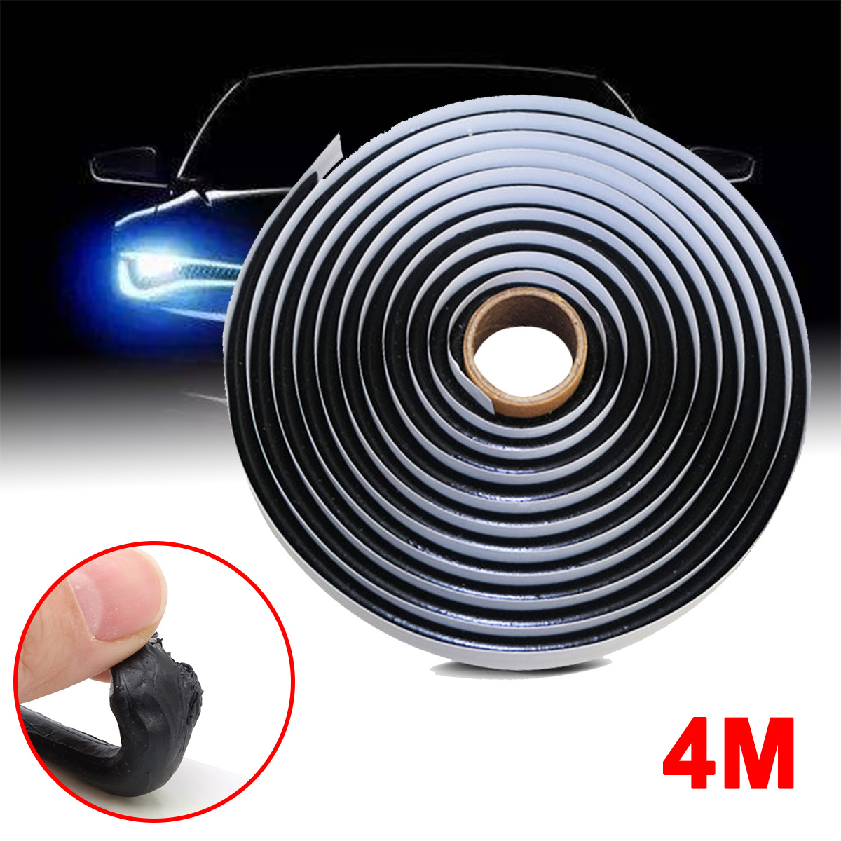 4M Car Truck Headlight LED Retrofit Reseal Strip Black Butyl Rubber Glue Sealant