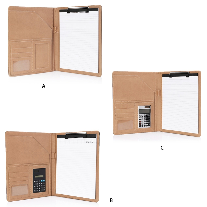 A4 Leather Conference File Folder Document Manager Organizer With Calculator H7EC