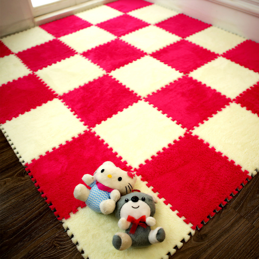 10 Pieces / Soft 30*30 Cm Children Plush Carpet Parquet Floor Puzzle Carpet Baby Game Pad Crawling Mat Baby Play Mat | Happy Baby Mama