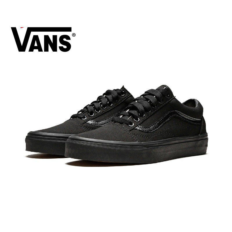 Original Authentic VANS OLD SKOOL Men And Women Shoes Classic  Outdoor Street Style Low To Help Pure Black 2019 New VN000D3HBKA