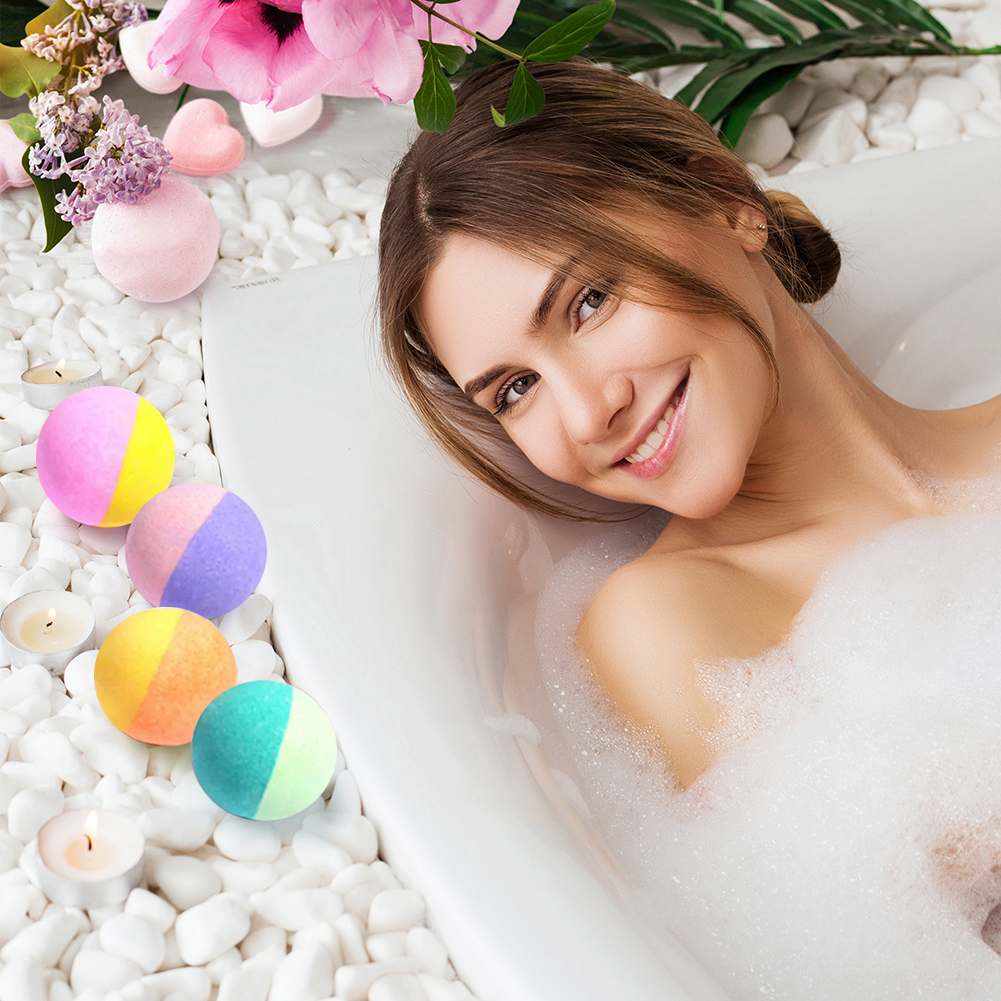 12pcs Natural Organic Bubble Bath Bombs Ball Handmade Salt Balls Soften Cuticle Bubble Bath Care for Moisturizing Skin
