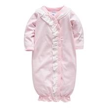 Honeyzone/детская одежда для сна с длинными рукавами и круглым вырезом; хлопковая розовая одежда на пуговицах для девочек; комбинезоны для новорожденных; Размеры 3, 6, 9, 9, Roupa De Bebes