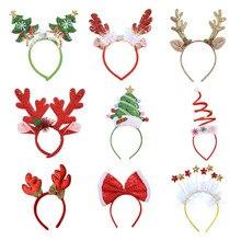 Креативные светящиеся рождественские повязки на голову с изображением Санта-елки, лося, обруч на голову с рогами, детские головные уборы дл...