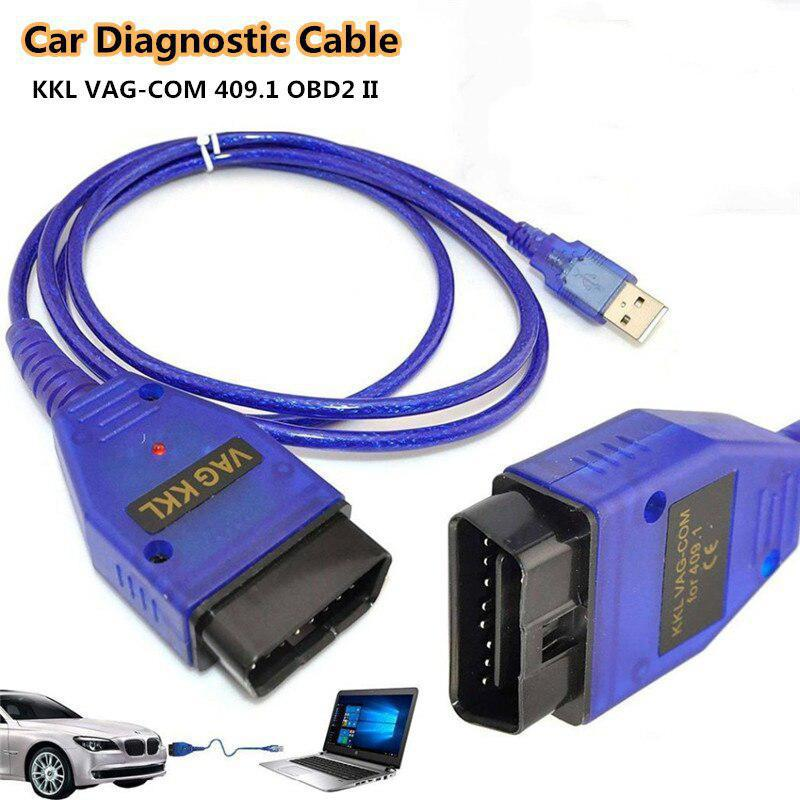 Car USB <font><b>Vag</b></font>-Com Interface Cable KKL <font><b>VAG</b></font>-COM 409.1 <font><b>OBD2</b></font> OBDII 16 Pin Diagnostic Scanner Auto Cable Aux ISO/KWP/VPW/PMW image