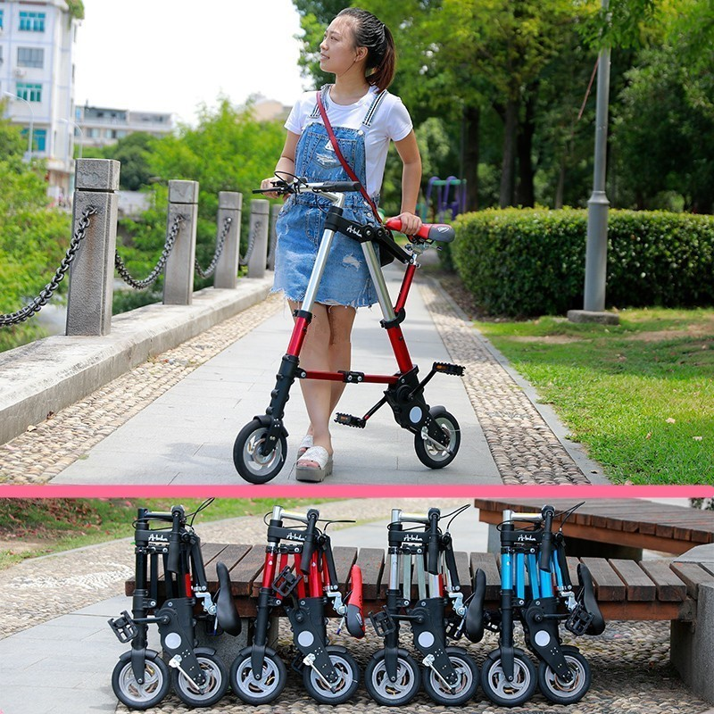 City Elf Bike 8 / 10 Inch Aluminum Alloy Ultra Light Mini Folding Bicycle Shopping Subway Travel Portable Pocket Unisex Cyclling