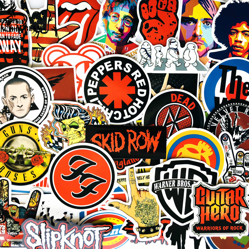52pcs Rock and Roll Music Retro Band Stickers nirvana Graffiti JDM Guitar Motorcycle Laptop Luggage Skateboard decal sticker